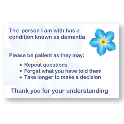 Dementia Patience Cards For Carers Care Alarms